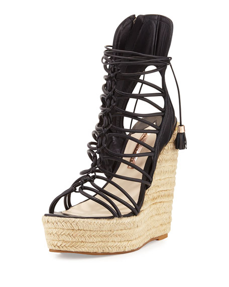Sophia Webster Lacey Lace-Up Gladiator Wedge Sandal, Black