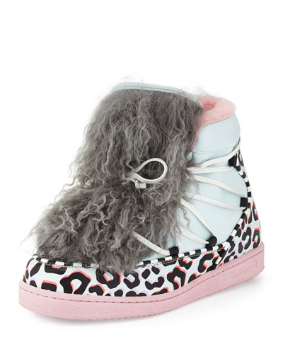 Quentin Leopard-Print Fur-Trim Sneaker, Pink/Blue