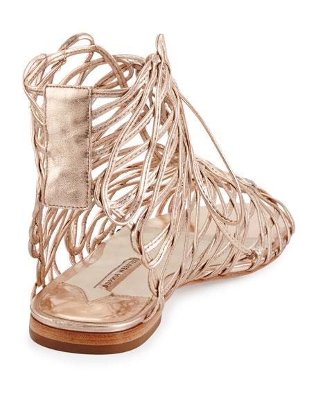 Dephine Lace-Up Flat Gladiator Sandal, Gold