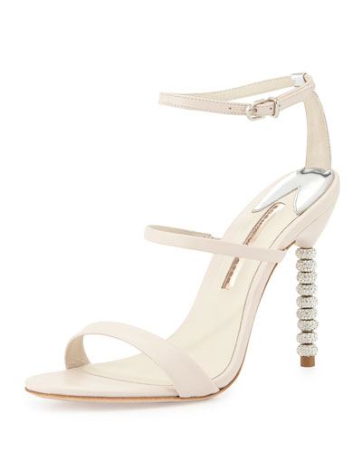 Rosalind Crystal-Heel Leather Sandal, Nude