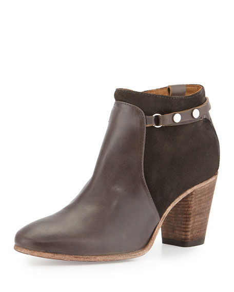 Alberto Fermani Evina Suede/Leather Bootie, Forged Iron