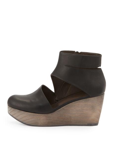 Hop Leather Wedge Clog, Black