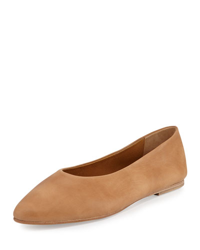 Pril Leather Ballerina Flat, Natural Sahara