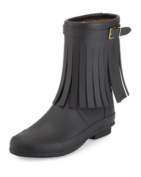 Burberry Reston Fringe Rain Boot, Black