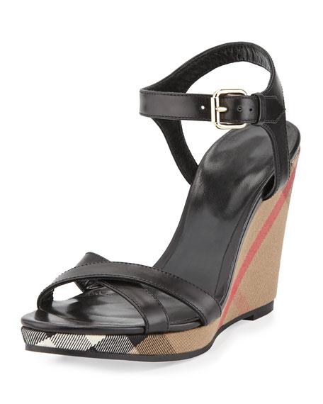 BurberryRastrickson Check Wedge Sandal, Black - Burberry Rastrickson Check Wedge Sandal, Black