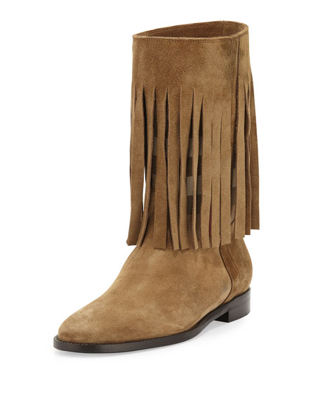 Burberry Norland Fringed Check Boot, Light Brown