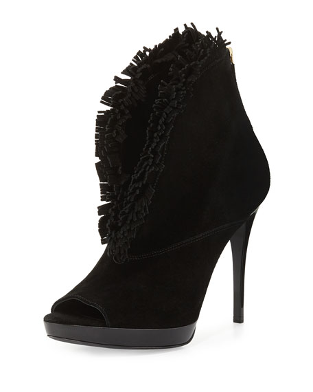 Burberry Nadison Fringed Suede Ankle Boot, Black