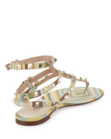 Rockstud Harlequin-Print Flat Gladiator Sandal, Green Tea Sorbet
