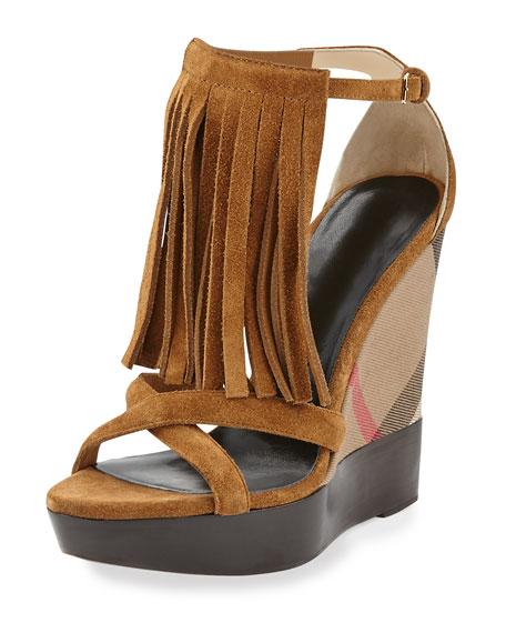 Burberry Minstead Fringe Check Wedge Sandal, Caramel