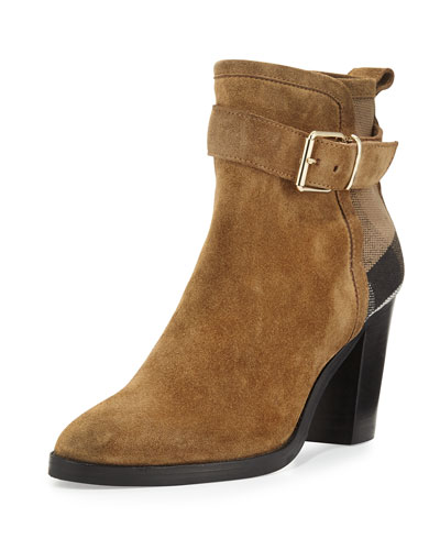 Madelina Suede Check Bootie, Sandstone