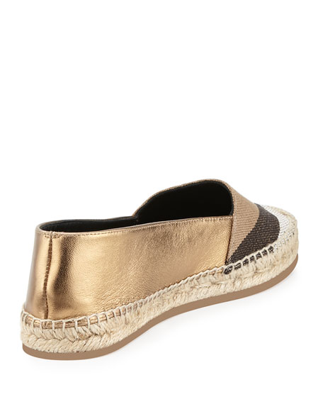 Hodgeson Check Canvas & Leather Espadrille Flat, Heritage Gold