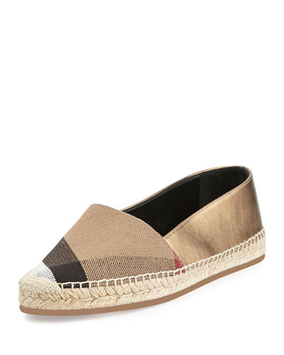 Hodgeson Check-Canvas Espadrille, Heritage Gold