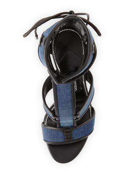 Patchwork Denim Cage Sandal, Blue