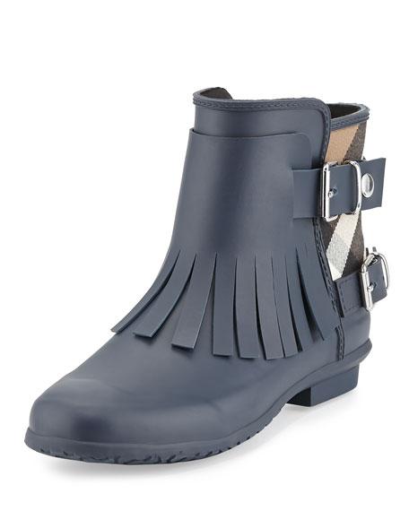 Burberry Fritton Check Fringe Rain Boot, Navy