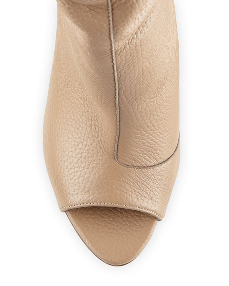 Burlison Scrunched Leather Bootie, Camel
