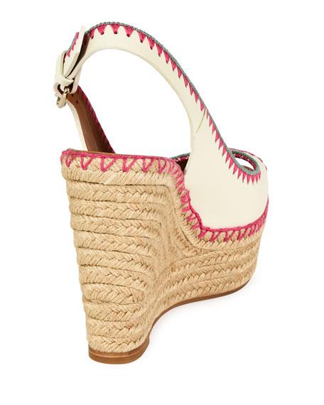 Whipstitch Slingback Espadrille Sandal, Ivory/Fuchsia/Sorbet