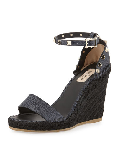 Rockstud Ankle-Wrap Wedge Sandal, Denim/Black
