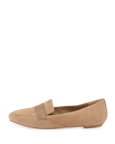 Fab Patent-Strap Suede Loafer, Sand