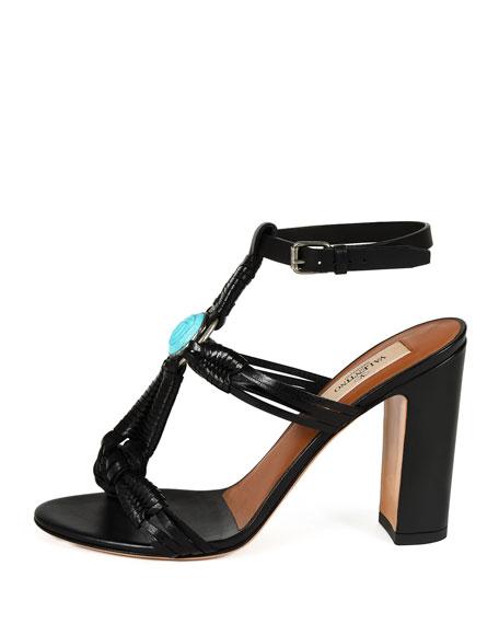 Embellished Woven Leather Sandal, Black/Turquoise