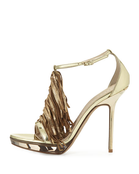 Gemma Metallic Fringed Sandal, Platinum