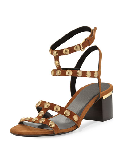 Philly Studded City Sandal, Malt Brown