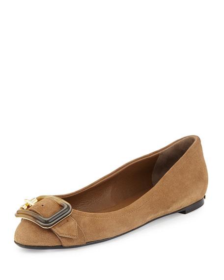 Burberry Leygreen Buckle Ballerina Flat, Walnut Brown