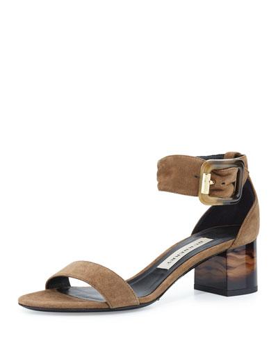 Cashel Suede Horn-Print City Sandal, Walnut Brown