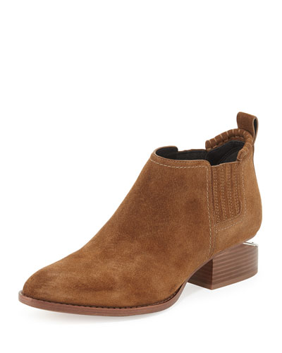 Kori Suede Lift-Heel Boot, Dark Truffle