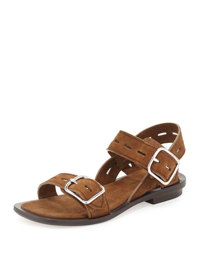 Charlott Flat Buckle Sandal, Dark Truffle