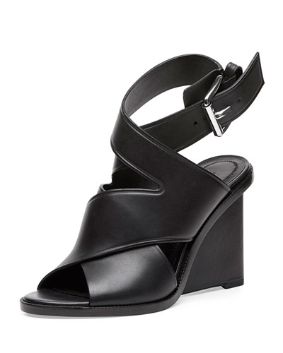 Elisa Leather Wedge Sandal, Black