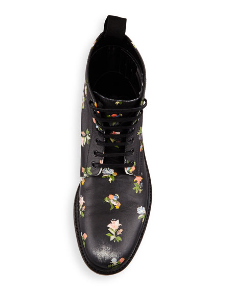 Lolita Grunge Floral Lace-Up Bootie, Black/Multi