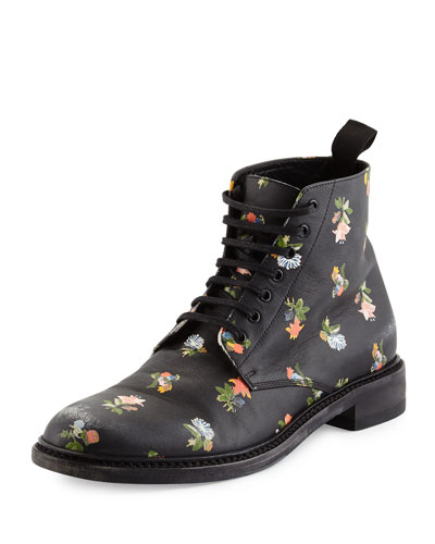 Lolita Grunge Floral Lace-Up Bootie, Black/Multi
