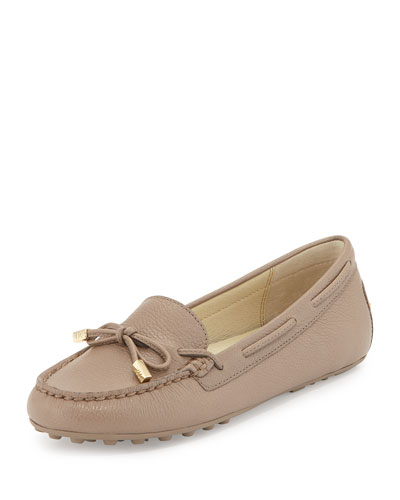 Daisy Pebbled Leather Moccasin, Dark Taupe