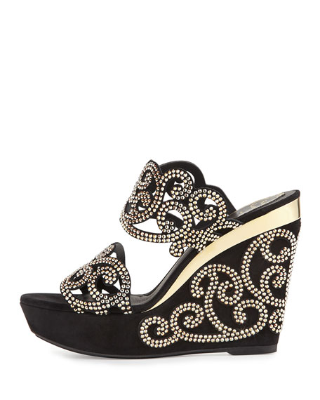 Chandelier Crystal Wedge Slide Sandal, Black/Gold