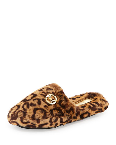 Jet Set Faux-Fur Slipper, Cheetah/Natural