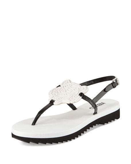 Kenzo Tiger Leather T-Strap Sandal, Blanc