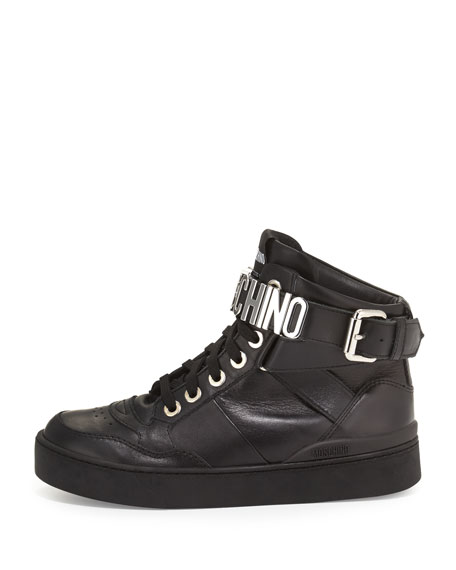 Lettering Leather High-Top Sneaker, Black