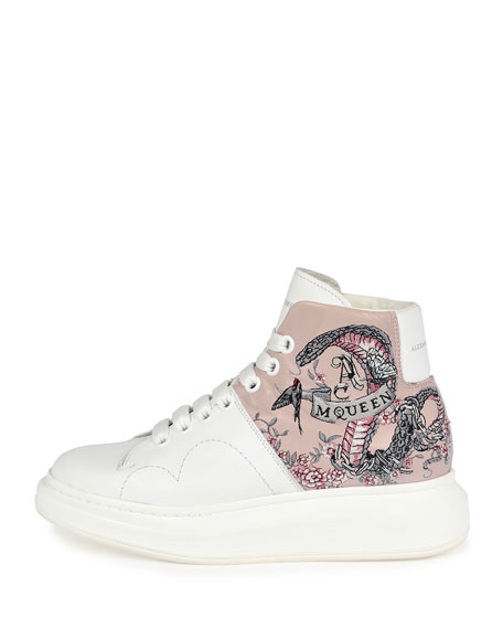 Embroidered Leather High-Top Sneaker, White/Pink
