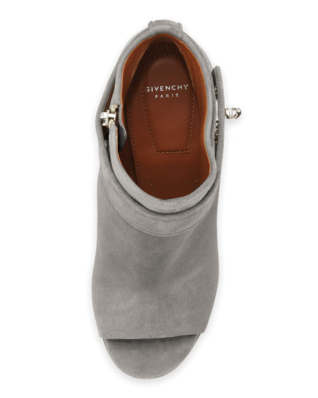 Suede Shark-Lock Open-Toe Bootie, Gray