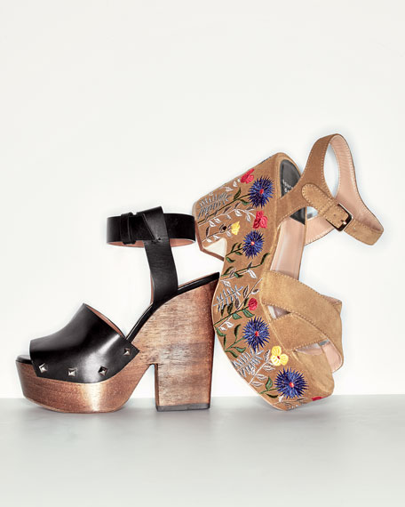 Leather Wedge Clog Sandal, Black
