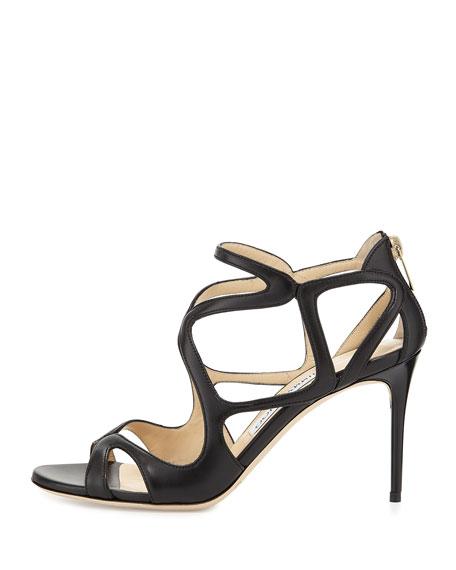 Leslie Curvy-Caged Leather Sandal, Black