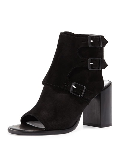 Marta Suede Open-Toe Bootie, Black