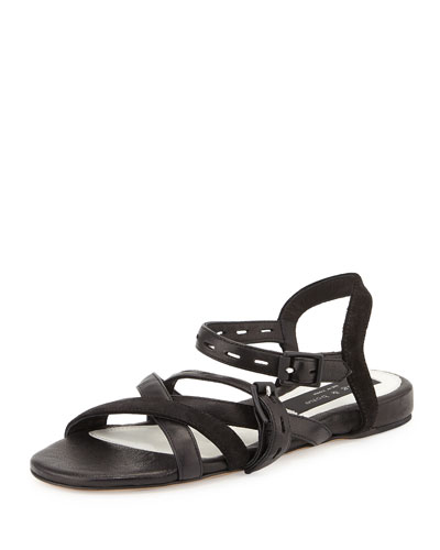 Hadi Leather Flat Sandal, Black
