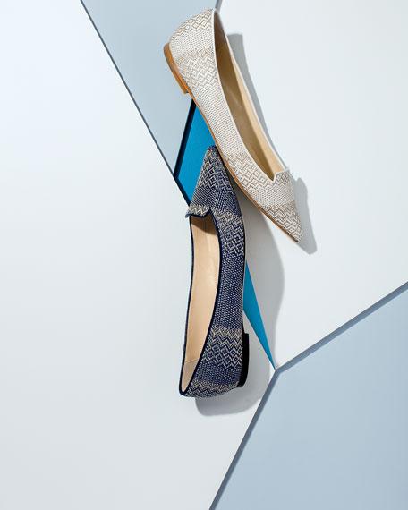 Attila Woven Pointed-Toe Ballerina Flat, Navy Marble