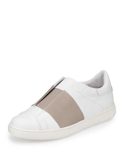 Vista Embossed Leather Sneaker, Plaster/Light Gray