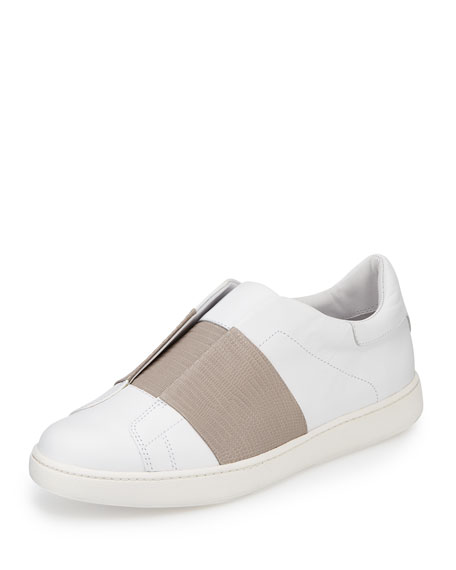Vince Vista Embossed Leather Sneaker, Plaster/Light Gray