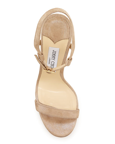 Jimmy Choo Claudette Shimmery Leather 120mm Sandal, Nude