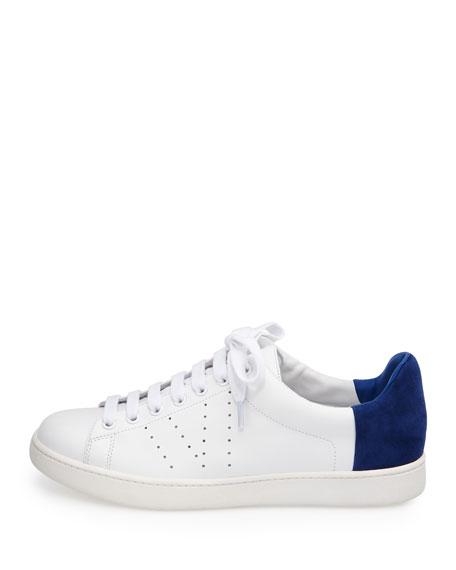 Varin Two-Tone Leather Sneaker, Plaster/Cobalt