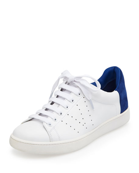 Vince Varin Two-Tone Leather Sneaker, Plaster/Cobalt