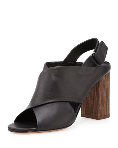 Vince Faine Chunky-Heel Leather Sandal, Black